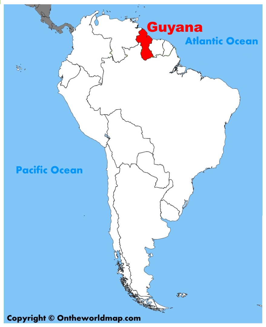 South America - Guyana - white border
